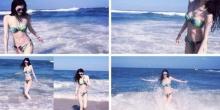 นางแบบจีน คนดัง ลั๊นลาริมหาด ใน บิกินี่ สดใส