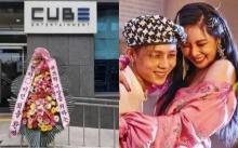 พวงหรีดแสดงความยินดี ฮยอนอา-อีดอน ถูกปลดออกจากค่ายหน้าตึก Cube Ent.