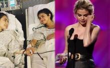 """สาวคนดัง """"เซเลน่า โกเมซ"""" หลั่งน้ำตาระหว่างขึ้นรับรางวัล!! ซึ้งใจเพื่อนสาวช่วยชีวิต"""