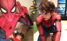"""สุดยอดคุณพ่อ!!! """"ไมค์"""" ลงทุนใส่ชุด Spiderman พา """"น้องแม็กซ์เวลล์"""" เที่ยวห้าง (มีคลิป)"""