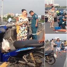 ชื่นชม! ตุ๊ก เดือนเต็ม ช่วยคนโดนรถชน