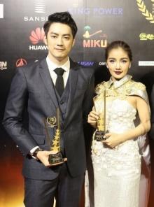 """""""ฟิล์ม-กระแต"""" เข้าตาสื่อจีน รับรางวัลบุคคลแห่งปี"""