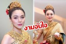 """งามดุจนางในวรรณคดี! """"ปราง กัญญ์ณรัณ"""" สะบัดลุคสวมชุดไทยอีกครั้งต้อนรับสงกรานต์ 2562"""
