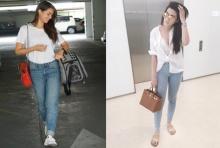 เซอร์ๆ เท่ห์ ๆ  กับ เสื้อยืด กางเกงยีนส์ แบบ 2 สาว เพื่อนซี้ คิมมี่-ญาญ่า