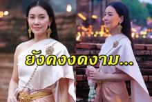 """งดงามที่สุด """"นุ่น วรนุช"""" แต่งชุดไทยร่วมเวียนเทียนที่อยุธยา"""