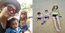 ครอบครัวสุขสันต์! ชมพู่-น็อต พาลูกแฝดเที่ยวทะเลเล่นทรายริมหาด