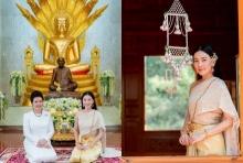 งดงามมาก นุ่น วรนุช ควงแม่สามี แต่งชุดไทยห่มสไบทำบุญ